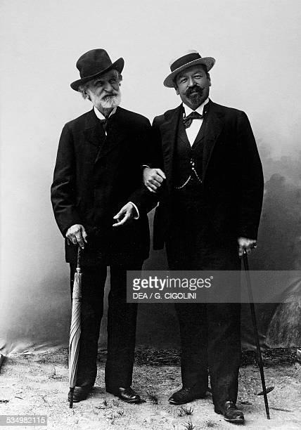 The Italian composer Giuseppe Verdi , on the left, with the Italian tenor Francesco Tamagno . 19th century. Busseto, Casa Natale Di Giuseppe Verdi