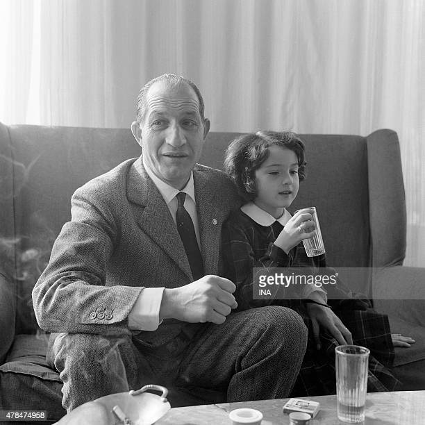 The Italian cycle champion Gino Bartali with his daughter during a reportage for the program The wings of the exploit