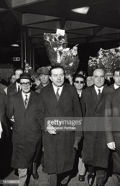 The Italian defense minister Giulio Andreotti walking along a group of supporters at the Christian Democracy congress Naples January 1962