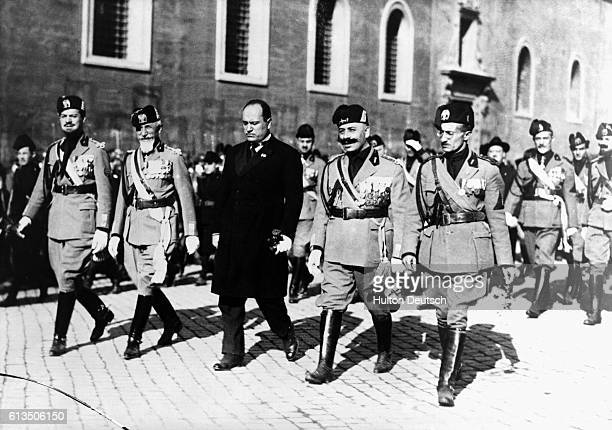 The Italian dicator Benito Mussolini and four of his Generals march on Rome supported by their fascist troops 1922