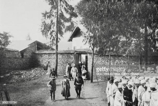 The Italian diplomatic corps leaving the residence of Emperor Menelik II in Addis Ababa Ethiopia photo by S Bertolani from L'Illustrazione Italiana...