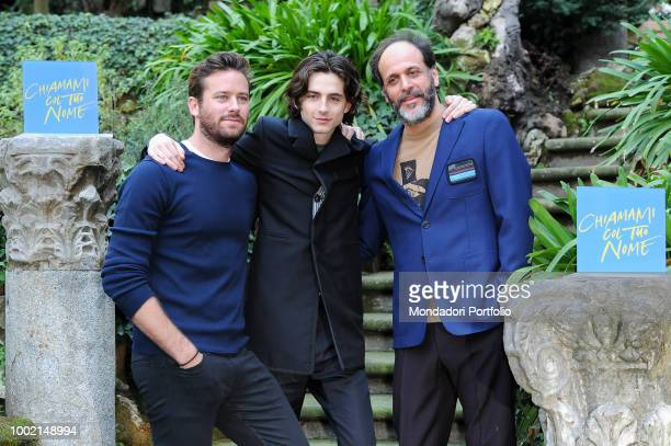 The Italian director Luca Guadagnino the French actor Timothée Chalamet and the American actor Armie Hammer at the photocall of the film Chiamami col...