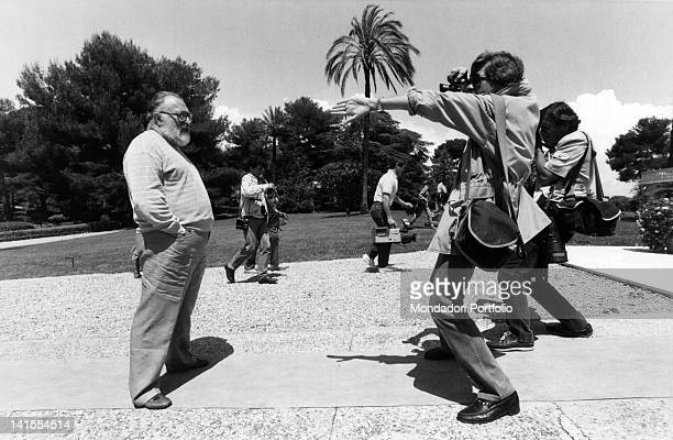 The Italian director Sergio Leone posing for a photo at the Cannes International Fim Festival Cannes 1984