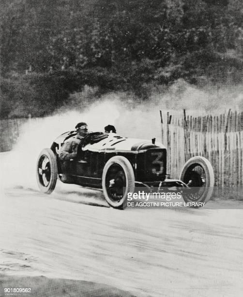 The Italian driver Alberto Ascari in action during the Second European Grand Prix in Lyon France from L'Illustrazione Italiana Year LI No 32 August...