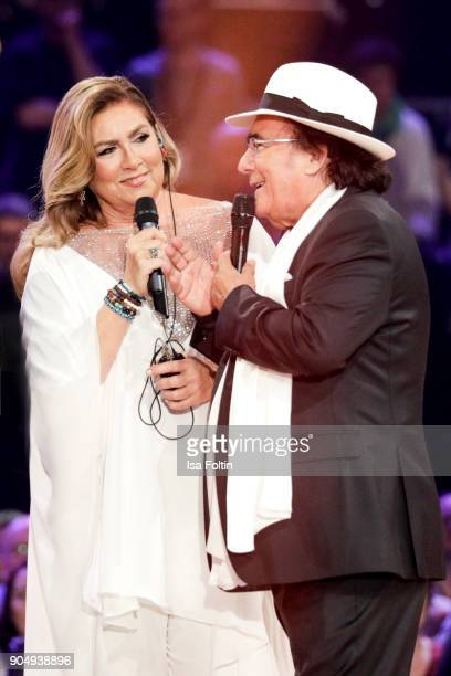 The Italian duo Al Bano and Romina Power perform at the 'Schlagerchampions Das grosse Fest der Besten' TV Show at Velodrom on January 13 2018 in...