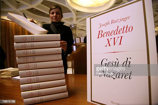 The Italian edition of Pope Benedict XVI last book 'Jesus of Nazareth' is seen before the media conference at the Sinodo Hall on April 13 in Vatican...