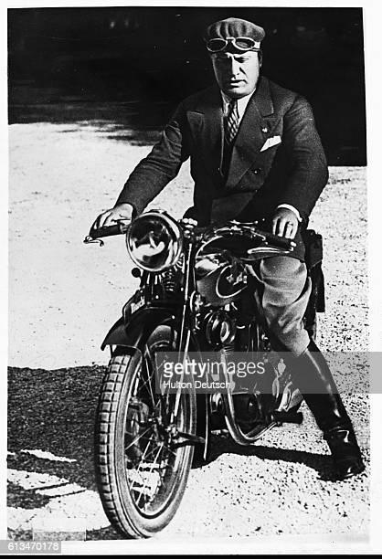 The Italian fascist dictator Benito Mussolini on his motorbike