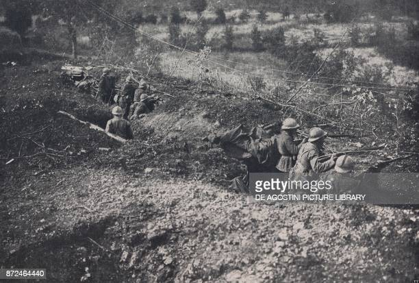 The Italian first line on Montello beyond Giavera June 22 Battle of Piave Italy World War I from l'Illustrazione Italiana Year XLV No 26 June 30 1918