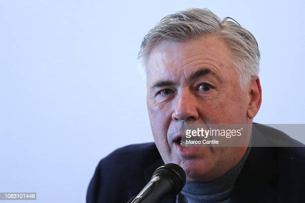 The italian football coach Carlo Ancelotti during a press conference at the Vanvitelli University in Naples