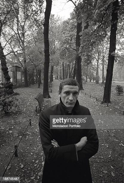 The Italian football player Gigi Riva posing in a park of Lombardy Italy 1968