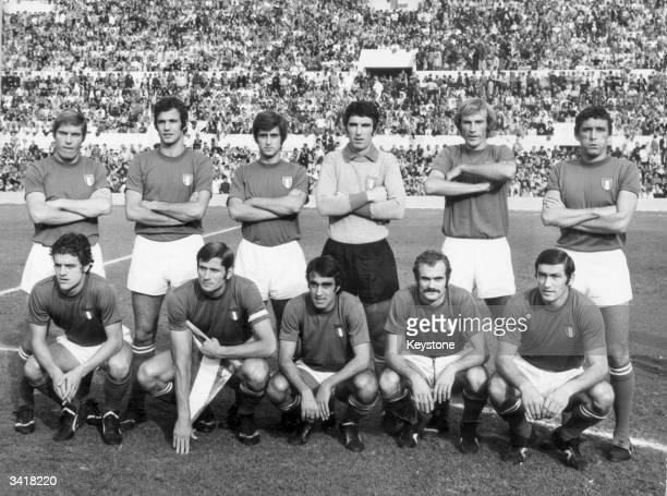 The Italian football team who qualified for the 1974 World Cup after beating Switzerland Back row left to right R Benetti D Spinosi Gianni Rivera...
