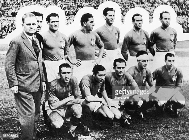 The Italian football team with their coach Vittorio Pozzo before the World Cup final against Czechoslovakia at the Stadio Nazionale del PNF in Rome...