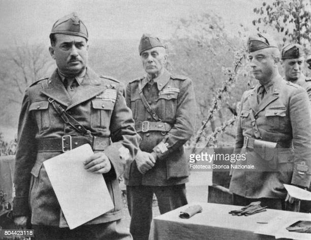 The Italian Forces in Sardinia at the time of the Armistice, from left to right: general Basso, commander; unidentified military; General Umberto...