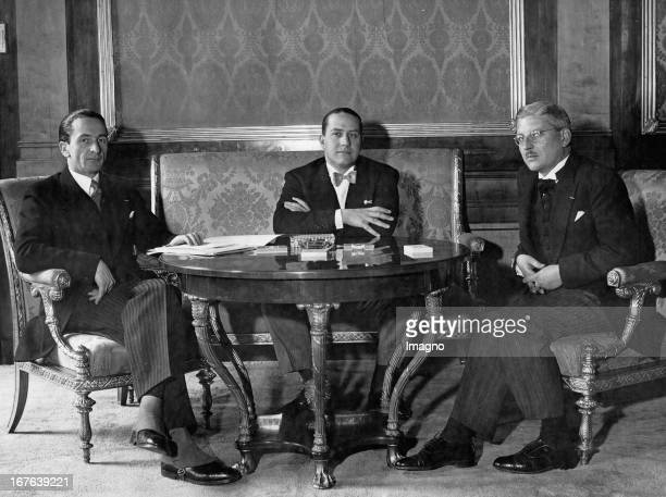 The Italian foreign minister Count Galeazzo Ciano at his stay in Austria The Austrian state secretary Guido Schmidt and the Austrian chancellor Kurt...