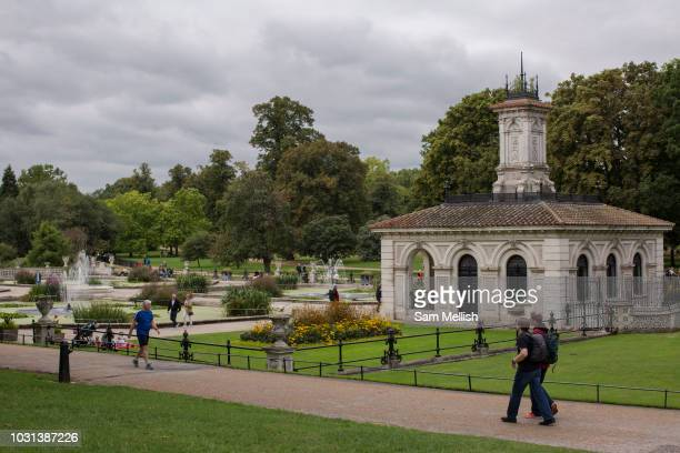 The Italian Gardens in Hyde Park on the 27th August 2018 in Central London in the United Kingdom The Italian Gardens are an elaborate mix of four...