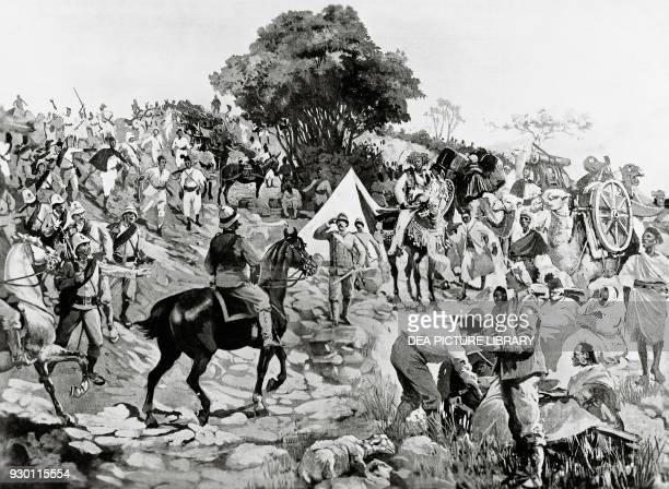 The Italian general Oreste Baratieri meeting Giuseppe Galliano and his column before the Battle of Adwa Ethiopia First ItaloEthiopian War engraving...