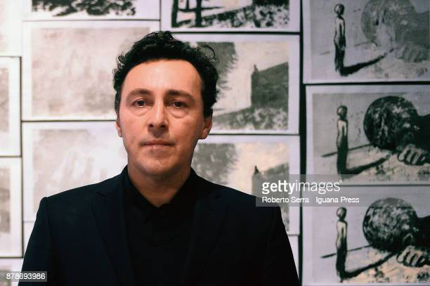 The Italian graphic novelist and artist Stefano Ricci during the set up of his exhibition 'Segnosonico' during Bil Bol Bul Festival at the print...