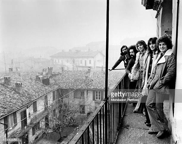 The Italian group I Camaleonti is posing on the terrace of a house in Milan from the back Paolo de Ceglie Livio Macchia Gerardo Manzoli known as...