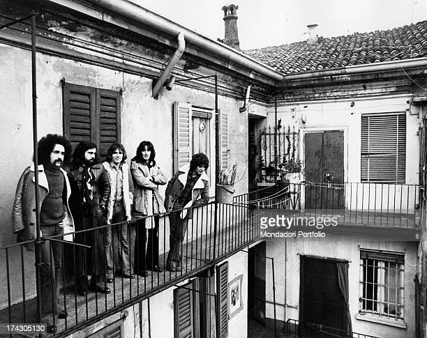 The Italian group I Camaleonti is posing on the terrace of a house in Milan from left Livio Macchia Paolo de Ceglie Gerardo Manzoli known as Gerry...