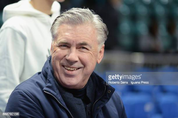 The italian head coach of soccer teams Carlo Ancelotti attends as guest the LBA LegaBasket of Serie A match between Virtus Segafredo Bologna and...