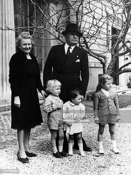 The Italian Head of Government Benito Mussolini with his wife Rachele and some of his nephews and nieces 1930s
