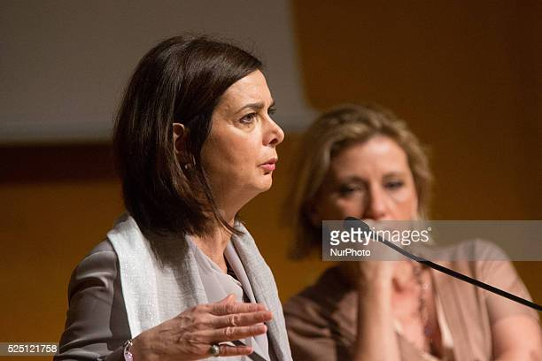 The italian journalist Concita de Gregorio interview Laura BoldrinPresident of the Chamber of Deputies of Italy since 16 March 2013 at the...