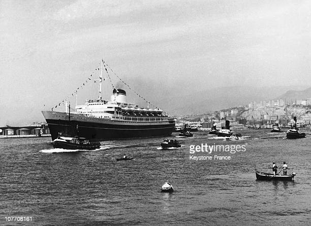 The Italian Liner 'Christoforo Colombo' Sister Ship Of The Andrea Doria Sailed From Genoa On Her Maiden Voyage On July 15Th 1954