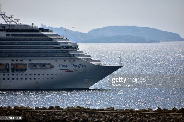 "The Italian liner ""Costa Pacifica cruise ship leaves the French Mediterranean Marseille Fos Port. Due to the Coronavirus pandemic, Costa Cruises..."