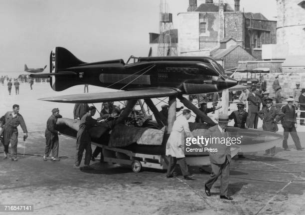 The Italian Macchi M67 singleengined singleseat lowwing monoplane twinfloat racing seaplane designed by Mario Castoldi and flown by Lieutenants Remo...
