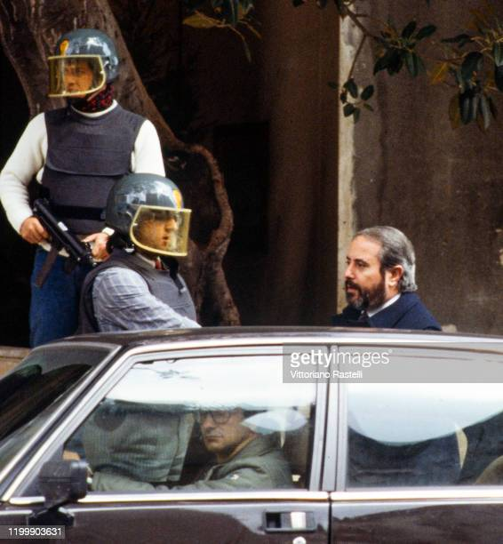 The Italian magistrate Giovanni Falcone escorted by police out of the home Palermo Italy in May 7 1985 Giovanni Falcone in 1992 was killed by the...