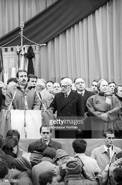 The Italian mayor of the city Renzo Imbeni giving a speech to his citizens at the celebration for the victims of the Train 904 bombing also known as...