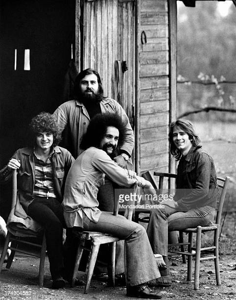 The Italian melodic rock band I Camaleonti seated in the courtyard of a farmhouse in the province of Milan from left Antonio Cripezzi known as Tonino...