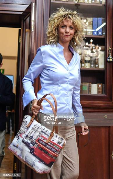 The Italian minister for the South Barbara Lezzi, arrives at the press conference in the building in the city center of Naples, Campania region,...