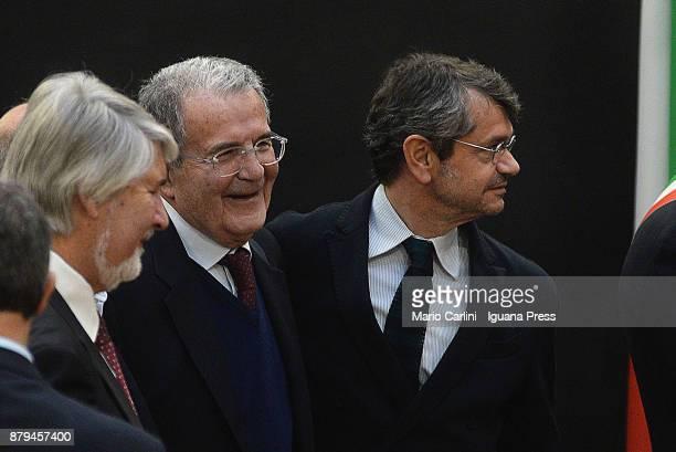 The italian Minister for work Giuliano Poletti and the ex italian Prime Minister Romano Prodi and Andrea Segre President of FICO attends the FICO...