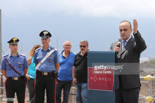 The Italian Minister of Cultural Heritage Alberto Bonisoli during press conference in one of the new excavations that are part of the Regio V site of...