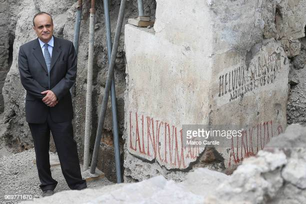 The Italian Minister of Cultural Heritage Alberto Bonisoli near the new inscription discovered in one of the new excavations that are part of the...