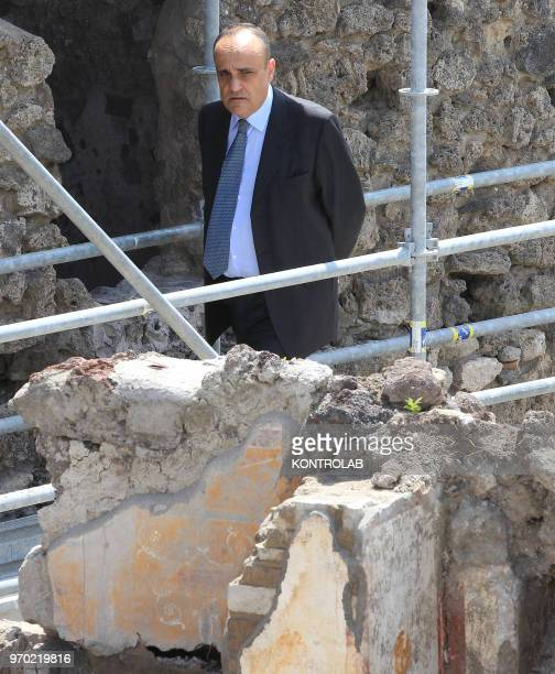 SCAVI POMPEI CAMPANIA ITALY The Italian Minister of Culture Alberto Bonisoli visits The work site of new excavations in Regio V in the archaeological...