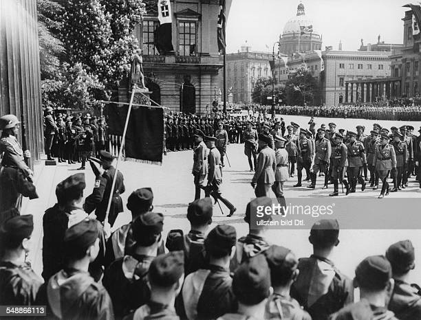 The italian minister of foreign affairs Galeazzo Count Ciano on the way to the cenotaph Unter den Linden for the wreathlaying ceremony following him...