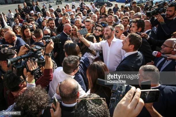 The Italian Minister of Interior Matteo Salvini of Lega Nord the right wing nationalist and populist party meets supporters during his visit in Naples