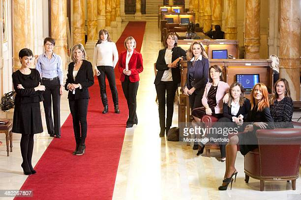 The Italian ministers and undersecretaries of Berlusconi's government pose smiling in the corridor of Palazzo Montecitorio From the left Mara...