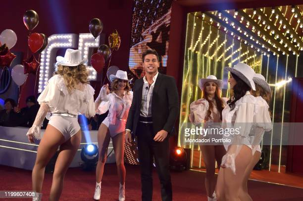 The italian model Andrea Denver during the first episode of the transmission Big brother vip 4 at the Cinecittà studios. Rome , January 8th, 2020
