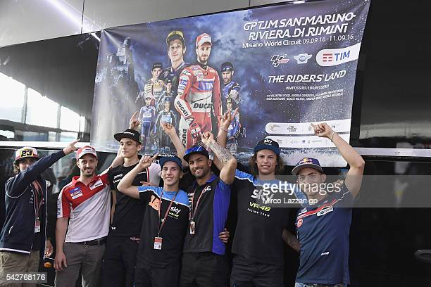 The Italian MotoGP riders present the new poster of San Marino GP 2016 during the MotoGP Netherlands Free Practice at TT Circuit on June 24 2016 in...