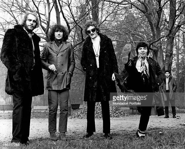 The Italian music band Equipe 84 in the heart of Parco Sempione in Milan from left to right Victor Sogliani Franco Ceccarelli Maurizio Vandelli Alfio...