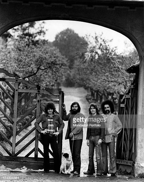 The Italian music band I Camaleonti in front of a wooden gate in the province of Milan from left Antonio Cripezzi known as Tonino Paolo de Ceglie...