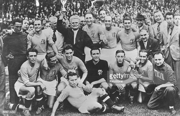 The Italian national football team after winning a match against Hungary