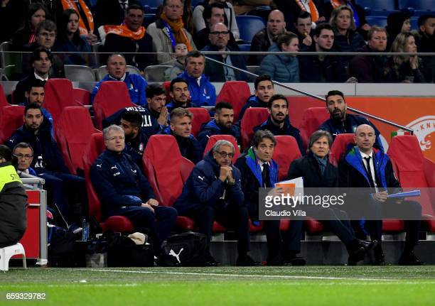 The Italian national football team sits on the bench during the international friendly match between Netherlands and Italy at Amsterdam Arena on...