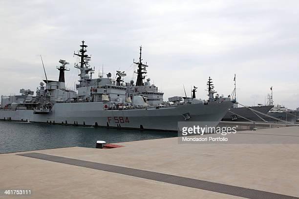 The Italian Navy Ship Bersagliere moored at the new sea base of Taranto during a photo shooting Taranto Italy 15th September 2009