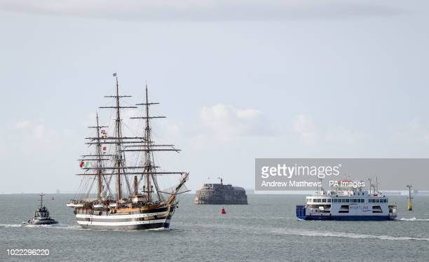 The Italian Navy training ship Amerigo Vespucci arrives into Portsmouth Harbour where she will be open to public at the Portsmouth Historical Dockyard