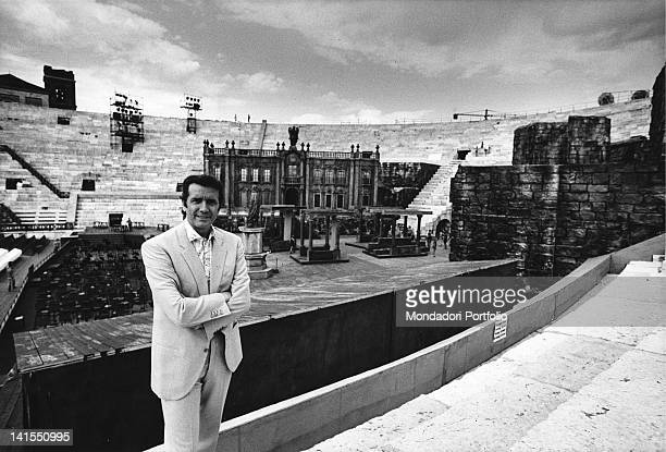 The Italian opera singer Franco Corelli posing in the Arena. Verona, July 1970