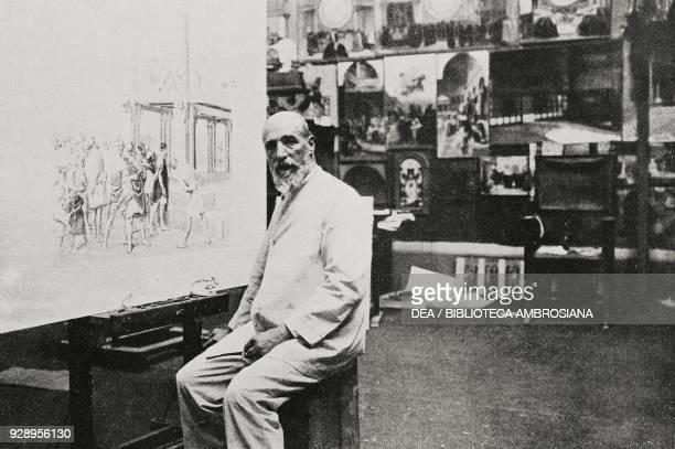 The Italian painter Cesare Maccari photo by Paolotti from the magazine L'Illustrazione Italiana year XLVI no 13 March 30 1919
